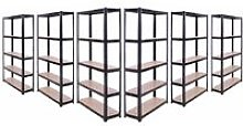 6 x Black Metal 5 Tier Garage Shelves Shelving