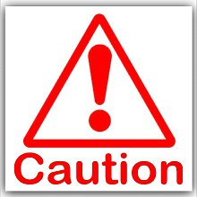 6 x Caution Symbol with Text-Red on White,External