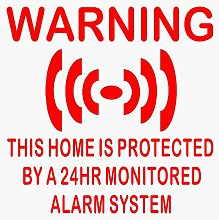6 x Home Protected Stickers for Windows-RED onto