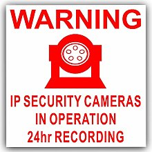 6 x IP Camera Security Stickers-Red on White-24hr