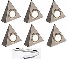 6 X LED Triangle Kitchen Under Cabinet Cupboard