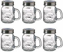 6 x Mini Mason Jar Shot Glasses With Handles & Lid
