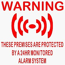 6 x Premises Protected Stickers for Windows-RED