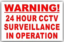 6 x Red on White-130mm-WORDED Only- Warning 24