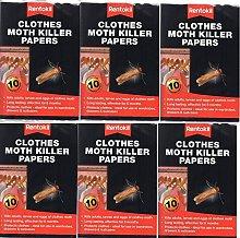 6 X Rentokil Moth Killer Papers 10pack