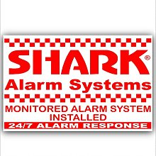6 x Shark Property Protected Stickers-Red On