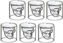 6x Skull shot glass, skull, skull head, vodka