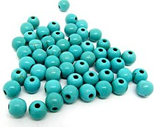 60 Turquoise Beads 6mm Reconstituted Dyed and