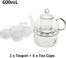 600mL Double Wall Glass Teapot Set Borosilicate