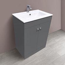 600mm 2 Door Gloss Grey Wash Basin Cabinet Vanity