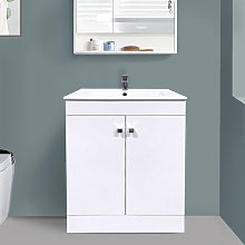 600mm 2 Door Gloss White Wash Basin Cabinet Floor