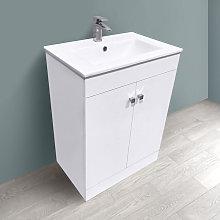 600mm 2 Door Gloss White Wash Basin Cabinet Vanity