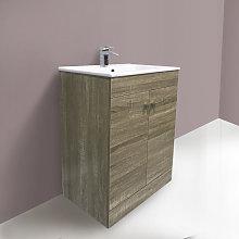 600mm 2 Door Grey Oak effect Wash Basin Cabinet