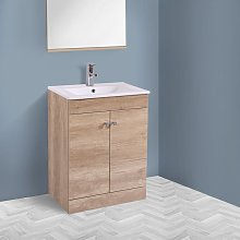 600mm 2 Door Light Oak Effect Wash Basin Cabinet