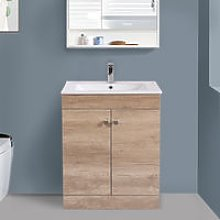 600mm 2 Door Oak Effect Wash Basin Cabinet Vanity