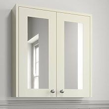 600mm Bathroom Mirror Cabinet Wall Mounted Ivory