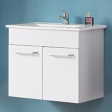 600mm Bathroom Vanity Unit with Sink White Wall