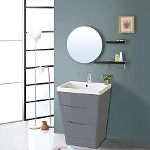 600mm Gloss Grey 2 Drawer Floor Standing Bathroom