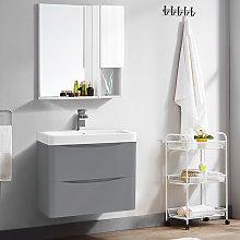 600mm Gloss Grey 2 Drawer Wall Hung Bathroom