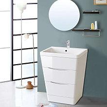 600mm Gloss White 2 Drawer Floor Standing Bathroom