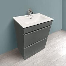 600mm Grey Bathroom Vanity Unit Basin Floor