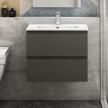 600mm Grey Floating Bathroom Wall Basin Cabinet