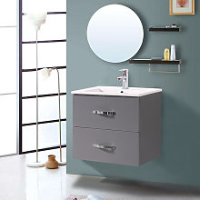 600mm Grey Minimalist 2 Drawer Bathroom Cabinet