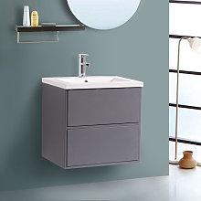 600mm Grey Modern Wall Hung Bathroom Furniture