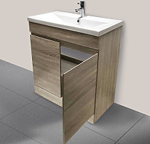 600mm Grey Oak Effect Bathroom Vanity Unit Basin