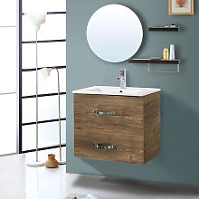 600mm Grey Oak Effect Minimalist 2 Drawer Bathroom