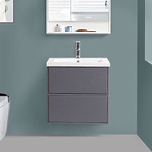 600mm Grey Vanity Unit Resin Basin Bathroom Drawer