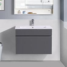 600mm Grey Wall Hung Vanity Sink Unit Ceramic