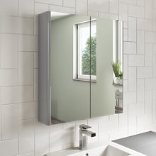 600mm Mirrored Bathroom Cabinet Grey Gloss -