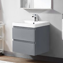 600mm Wall Hung 2 Drawer Vanity Unit Basin Storage