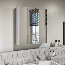 600mm Wall Hung Mirrored 2 Door Cabinet White