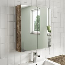 600mm Wall Hung Mirrored Bathroom Cabinet Grey