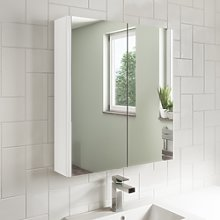 600mm Wall Hung Mirrored Cabinet White Gloss -