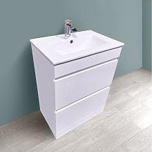 600mm White Bathroom Vanity Unit Basin Floor