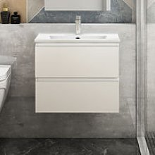 600mm White Floating Bathroom Wall Basin Cabinet