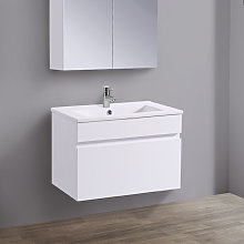 600mm White Wall Hung Vanity Sink Unit Ceramic