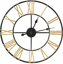 60Cm Metal Skeleton Clock- Black And Gold Borough