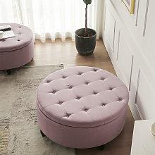 60CM Round Velvet Storage Footstool, Pink