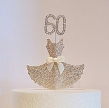 60th Birthday Cake Decoration. Gold Dress with