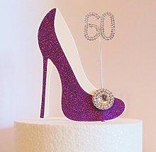 60th Birthday Cake Decoration Purple Shoe with