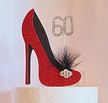60th Birthday Cake Decoration Red and Black Shoe