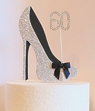 60th Birthday Cake Decoration Silver and Black