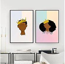 60x80cm x2 Pieces NO Frame Black Girl Magic Young