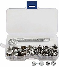 62Pcs Snap Fasteners Press Stud Kit 15mm Stainless