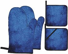 6321 Oven Mitts and Pot Holders Sets of 4,Navy