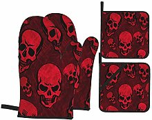 6321 Oven Mitts and Pot Holders Sets of 4,Red